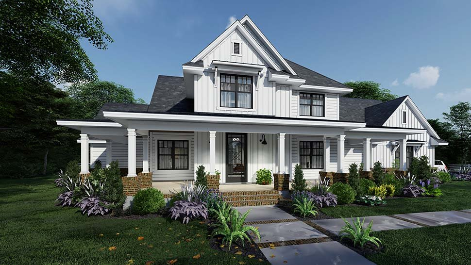 Country, Farmhouse Plan with 2829 Sq. Ft., 4 Bedrooms, 4 Bathrooms, 3 Car Garage Picture 2