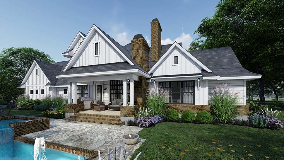 Country, Farmhouse Plan with 2829 Sq. Ft., 4 Bedrooms, 4 Bathrooms, 3 Car Garage Picture 3