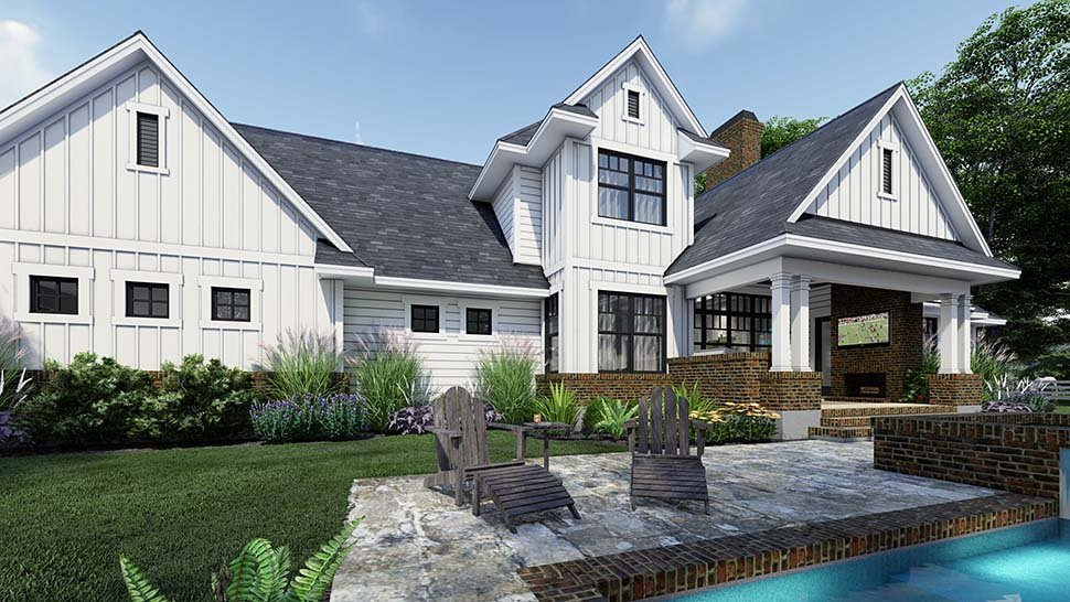 Country, Farmhouse Plan with 2829 Sq. Ft., 4 Bedrooms, 4 Bathrooms, 3 Car Garage Picture 5