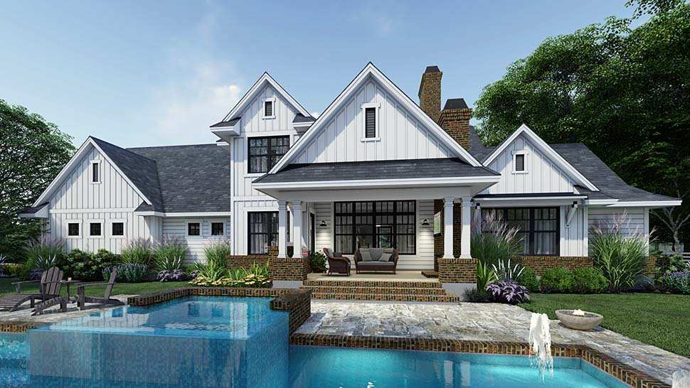 Country, Farmhouse Plan with 2829 Sq. Ft., 4 Bedrooms, 4 Bathrooms, 3 Car Garage Rear Elevation