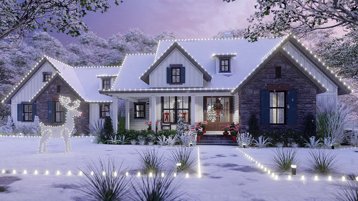 Cottage, Farmhouse, Southern, Traditional Plan with 1988 Sq. Ft., 3 Bedrooms, 3 Bathrooms, 2 Car Garage Elevation