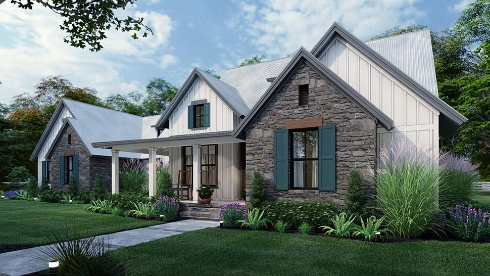 Cottage, Farmhouse, Southern, Traditional Plan with 1988 Sq. Ft., 3 Bedrooms, 3 Bathrooms, 2 Car Garage Picture 4
