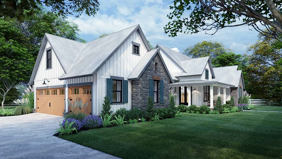 Cottage, Farmhouse, Southern, Traditional Plan with 1988 Sq. Ft., 3 Bedrooms, 3 Bathrooms, 2 Car Garage Picture 5