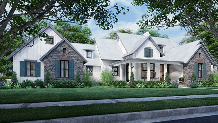 Cottage, Farmhouse, Southern, Traditional Plan with 1988 Sq. Ft., 3 Bedrooms, 3 Bathrooms, 2 Car Garage Picture 6