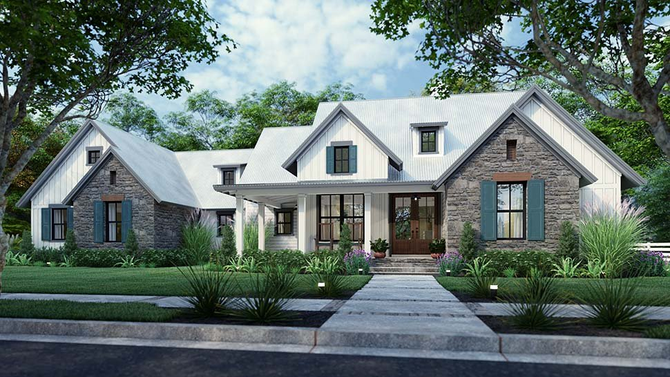 Cottage, Farmhouse, Southern, Traditional Plan with 1988 Sq. Ft., 3 Bedrooms, 3 Bathrooms, 2 Car Garage Picture 8