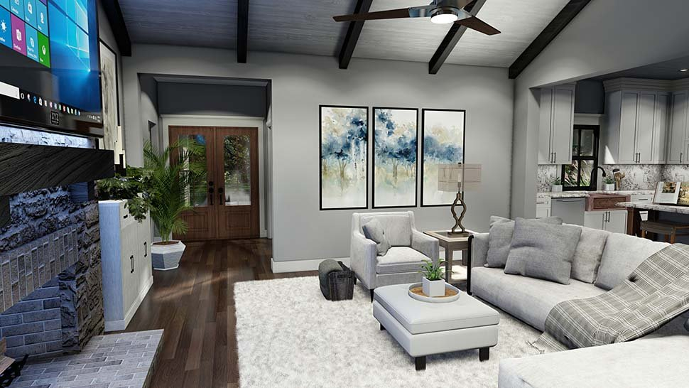 Cottage, Country, Farmhouse, Southern Plan with 1742 Sq. Ft., 3 Bedrooms, 3 Bathrooms, 2 Car Garage Picture 14