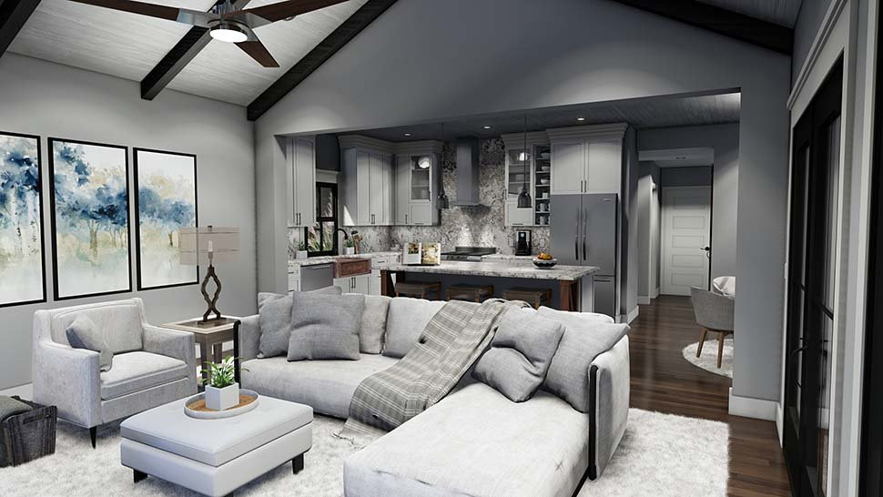 Cottage, Country, Farmhouse, Southern Plan with 1742 Sq. Ft., 3 Bedrooms, 3 Bathrooms, 2 Car Garage Picture 15