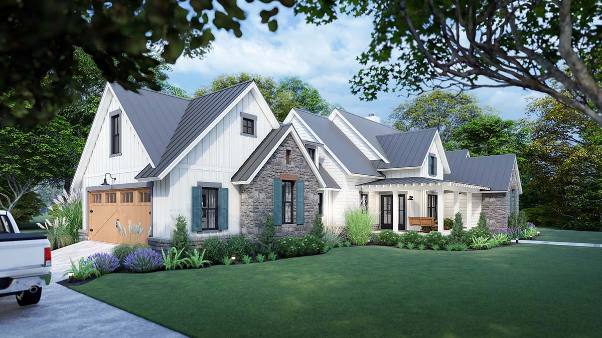 Cottage, Country, Farmhouse, Southern Plan with 1742 Sq. Ft., 3 Bedrooms, 3 Bathrooms, 2 Car Garage Picture 3