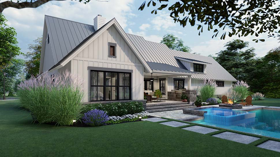 Cottage, Country, Farmhouse, Southern Plan with 1742 Sq. Ft., 3 Bedrooms, 3 Bathrooms, 2 Car Garage Picture 5