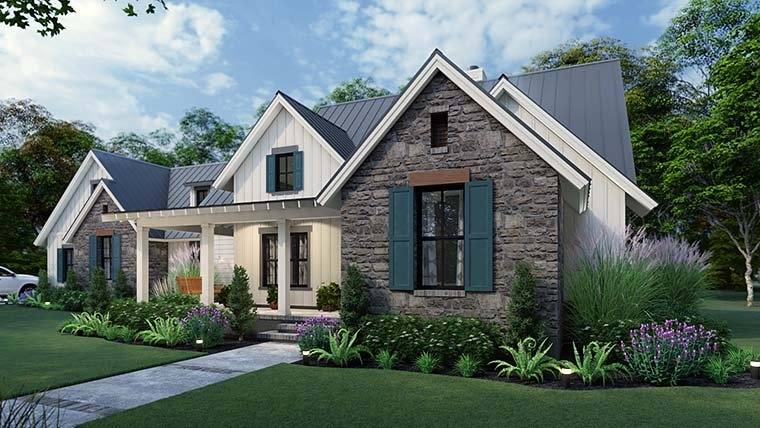 Cottage, Country, Farmhouse, Southern Plan with 1742 Sq. Ft., 3 Bedrooms, 3 Bathrooms, 2 Car Garage Picture 6