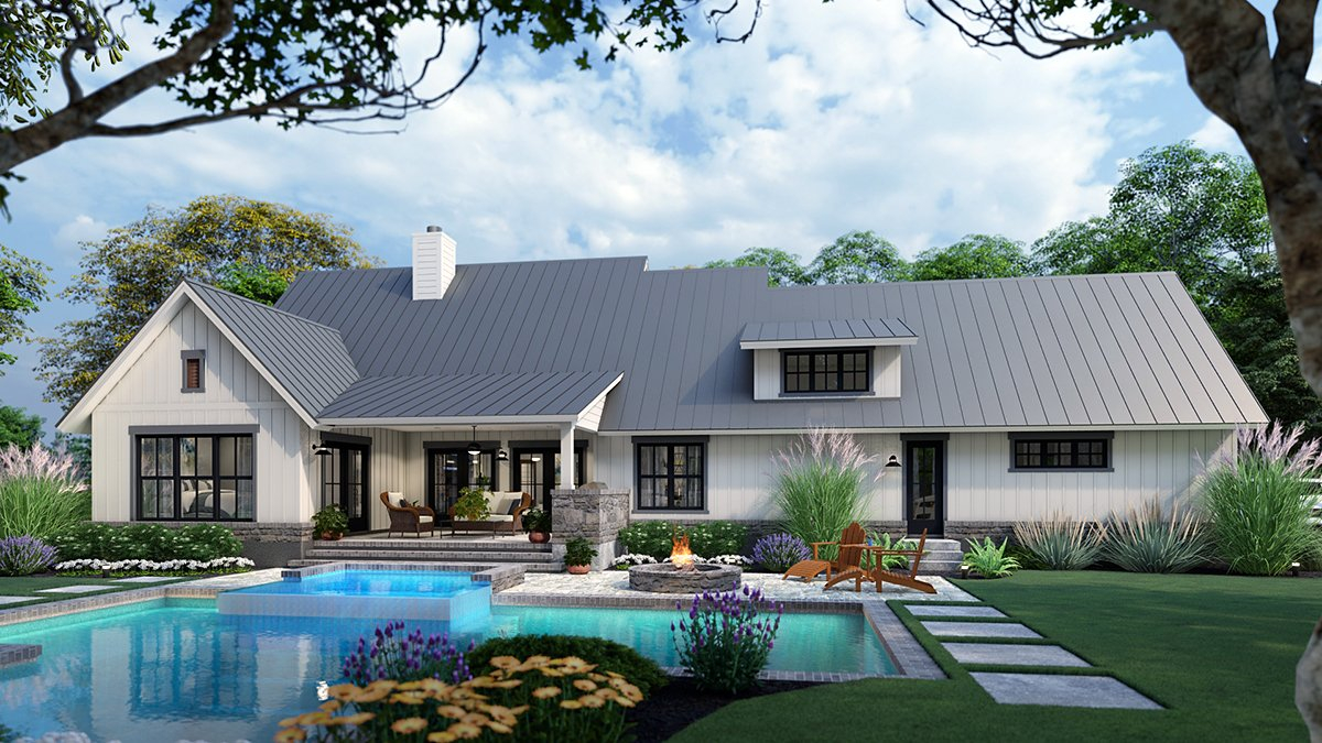 Cottage, Country, Farmhouse, Southern Plan with 1742 Sq. Ft., 3 Bedrooms, 3 Bathrooms, 2 Car Garage Rear Elevation