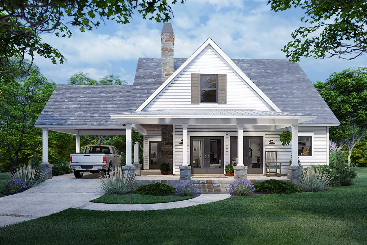 Cottage, Farmhouse Plan with 1302 Sq. Ft., 3 Bedrooms, 2 Bathrooms Elevation