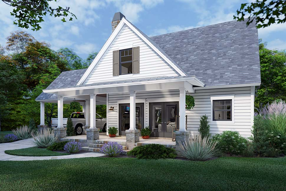 Cottage, Farmhouse Plan with 1302 Sq. Ft., 3 Bedrooms, 2 Bathrooms Picture 4
