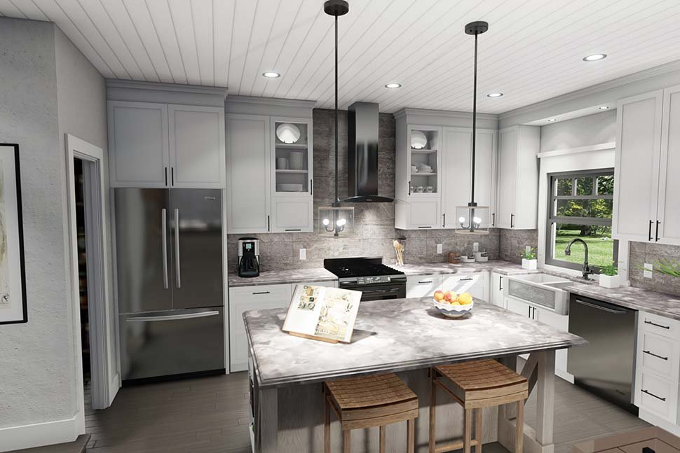 Cottage, Farmhouse Plan with 1302 Sq. Ft., 3 Bedrooms, 2 Bathrooms Picture 7