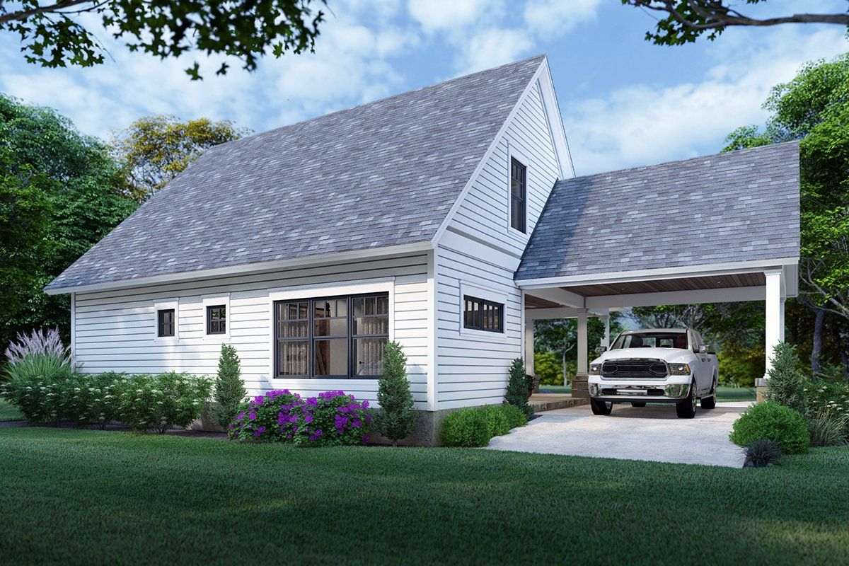 Cottage, Farmhouse Plan with 1302 Sq. Ft., 3 Bedrooms, 2 Bathrooms Rear Elevation