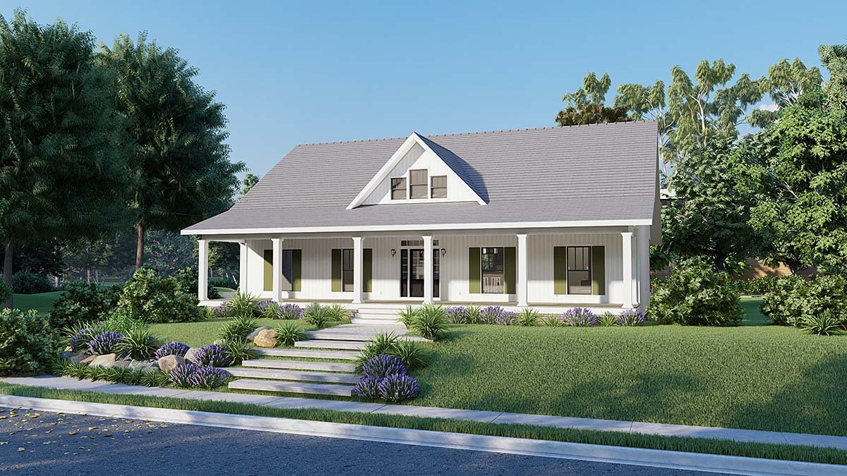 Country, Southern Plan with 1611 Sq. Ft., 3 Bedrooms, 2 Bathrooms, 2 Car Garage Elevation