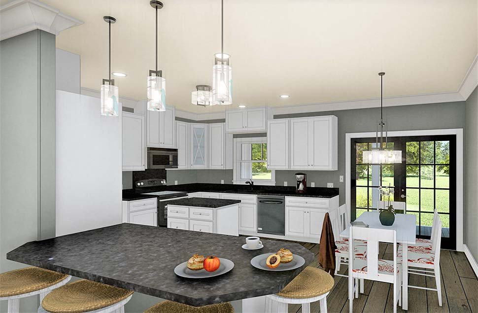 Country, Southern Plan with 1611 Sq. Ft., 3 Bedrooms, 2 Bathrooms, 2 Car Garage Picture 7