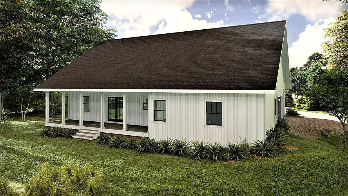 Country, Southern Plan with 1611 Sq. Ft., 3 Bedrooms, 2 Bathrooms, 2 Car Garage Rear Elevation