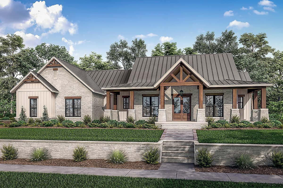 Country, Farmhouse, Traditional Plan with 2454 Sq. Ft., 3 Bedrooms, 3 Bathrooms, 3 Car Garage Elevation
