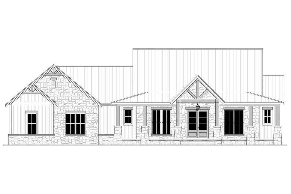 Country, Farmhouse, Traditional Plan with 2454 Sq. Ft., 3 Bedrooms, 3 Bathrooms, 3 Car Garage Picture 4