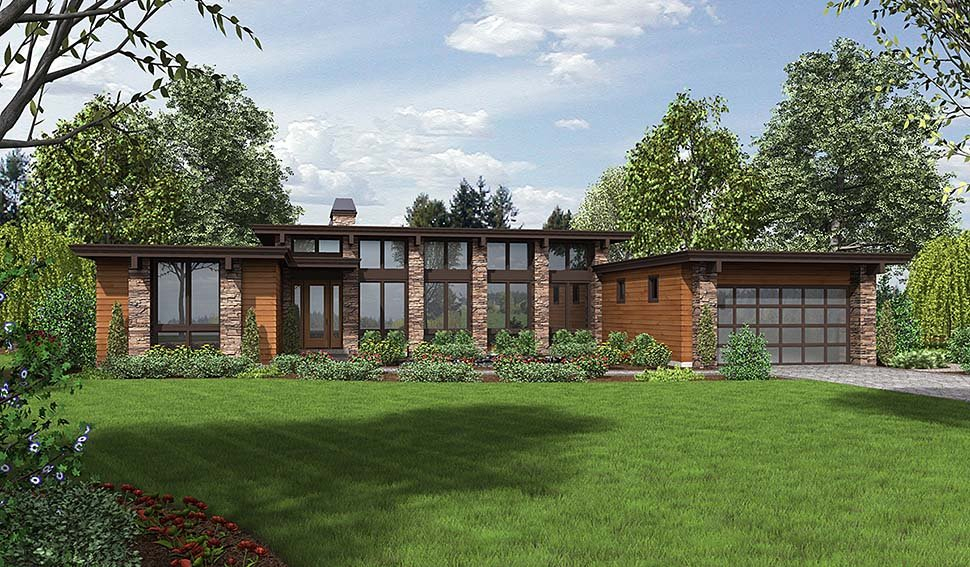 Contemporary, Modern Plan with 2557 Sq. Ft., 3 Bedrooms, 3 Bathrooms, 2 Car Garage Elevation