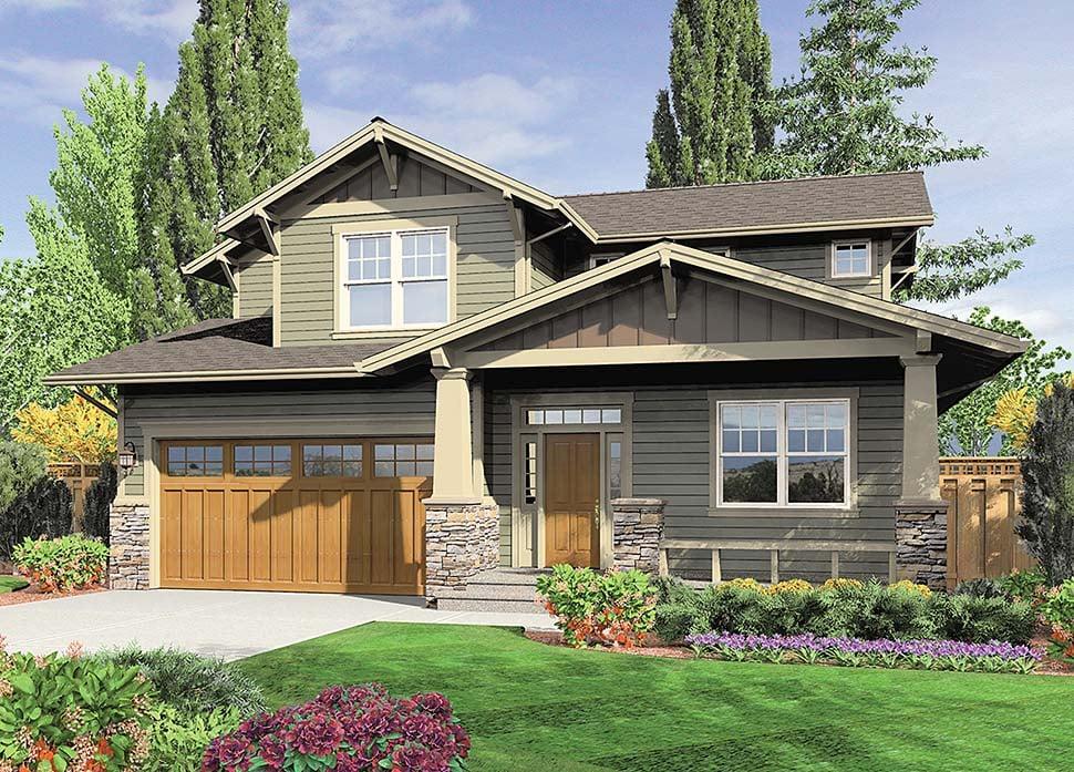 Bungalow, Craftsman Plan with 2002 Sq. Ft., 3 Bedrooms, 3 Bathrooms, 2 Car Garage Elevation
