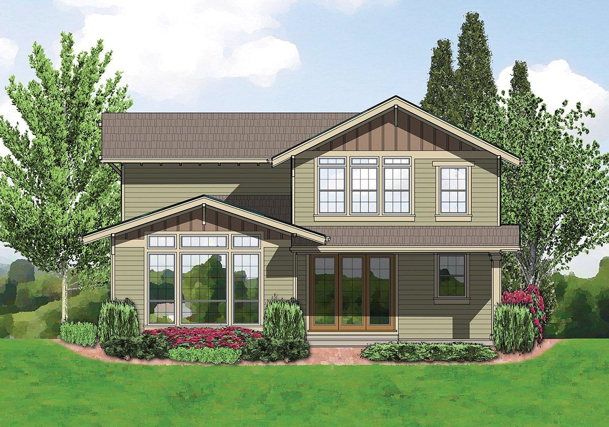 Bungalow, Craftsman Plan with 2002 Sq. Ft., 3 Bedrooms, 3 Bathrooms, 2 Car Garage Rear Elevation
