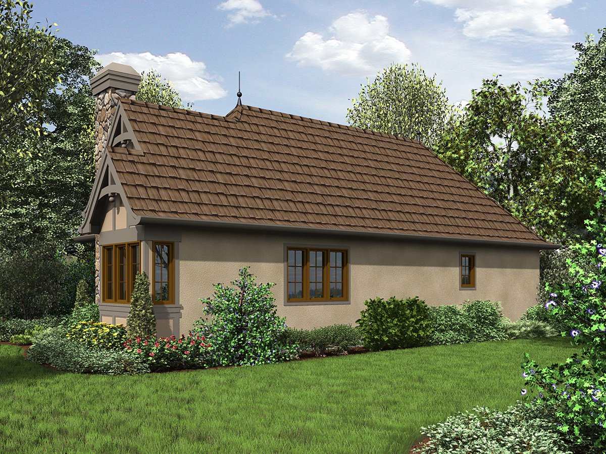 Cottage, French Country, Tudor Plan with 782 Sq. Ft., 2 Bedrooms, 1 Bathrooms Rear Elevation