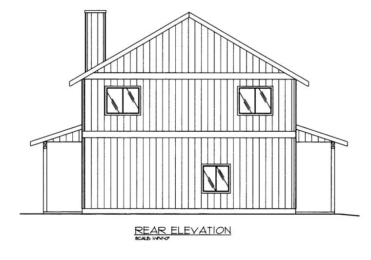 Contemporary, Farmhouse Plan with 1901 Sq. Ft., 2 Bedrooms, 3 Bathrooms, 2 Car Garage Rear Elevation