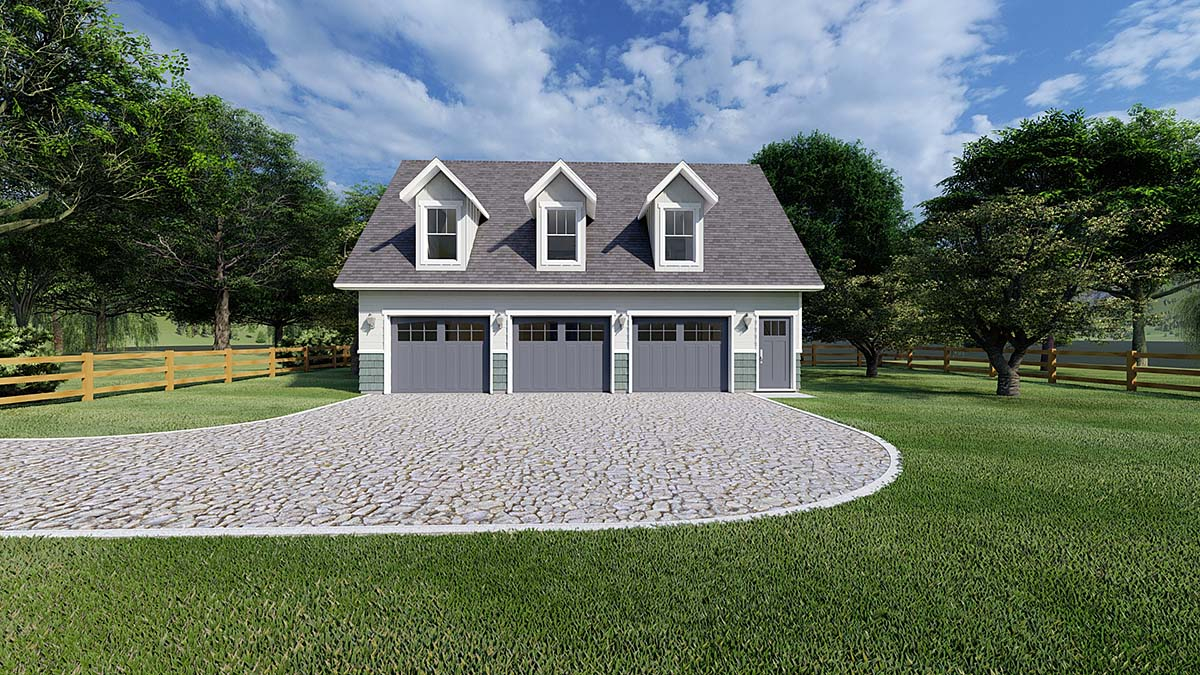 Plan with 1032 Sq. Ft., 2 Bedrooms, 2 Bathrooms, 3 Car Garage Elevation