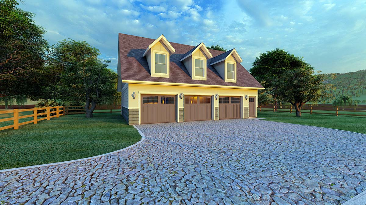 Plan with 1032 Sq. Ft., 2 Bedrooms, 2 Bathrooms, 3 Car Garage Picture 2