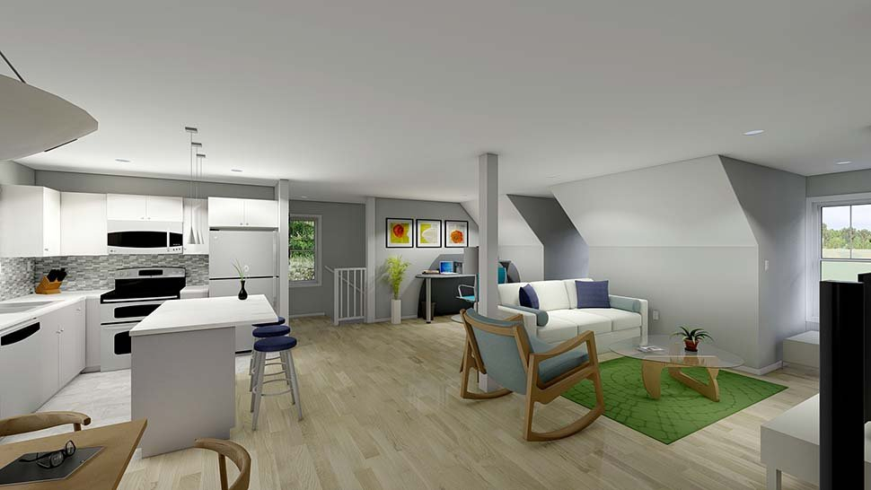 Plan with 1032 Sq. Ft., 2 Bedrooms, 2 Bathrooms, 3 Car Garage Picture 5