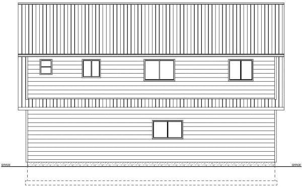 Plan with 1032 Sq. Ft., 2 Bedrooms, 2 Bathrooms, 3 Car Garage Rear Elevation