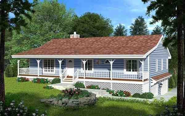 Country, Traditional House Plan 20198 with 3 Beds, 2 Baths, 2 Car Garage Picture 1