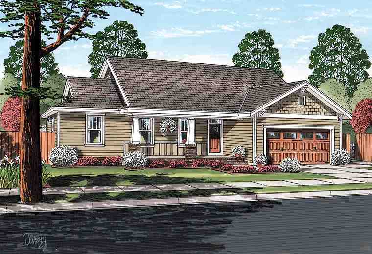 Bungalow, Craftsman House Plan 25200 with 3 Beds, 2 Baths, 2 Car Garage Picture 1