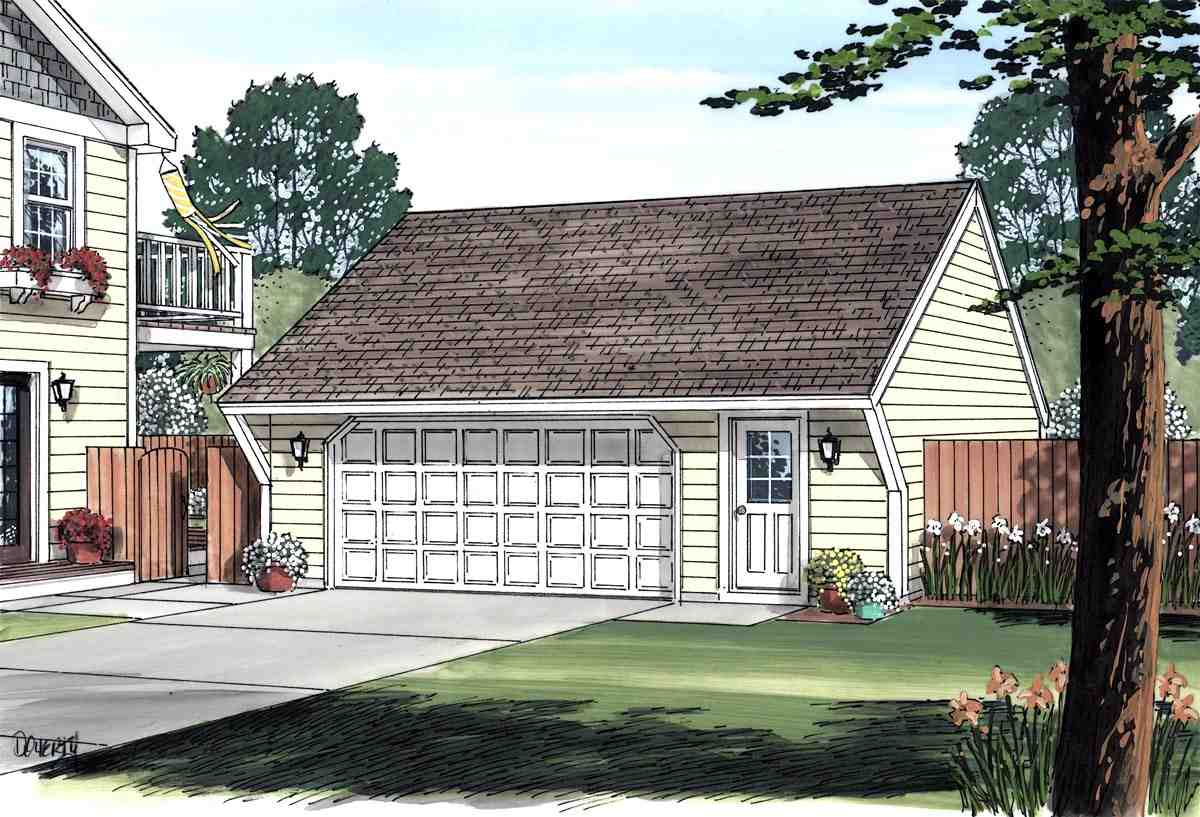 Cape Cod, Saltbox, Traditional 2 Car Garage Plan 30020 Picture 1