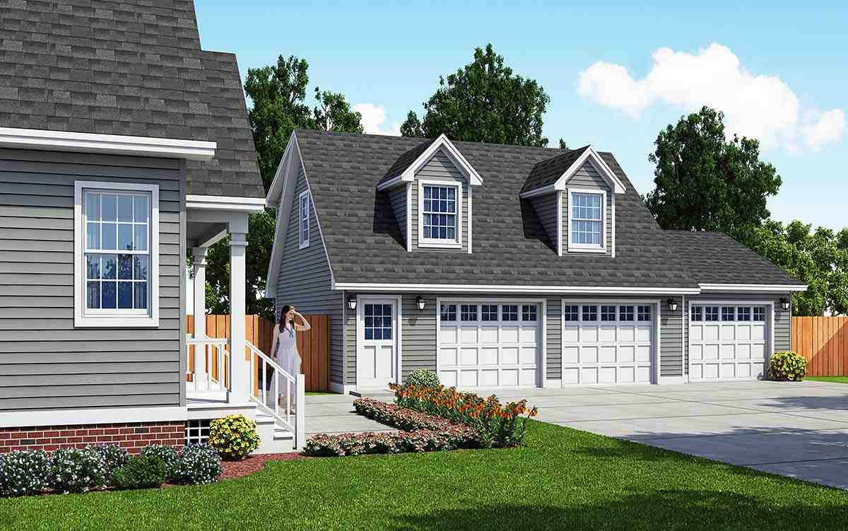 Cape Cod, Saltbox, Traditional 3 Car Garage Apartment Plan 30033 Elevation