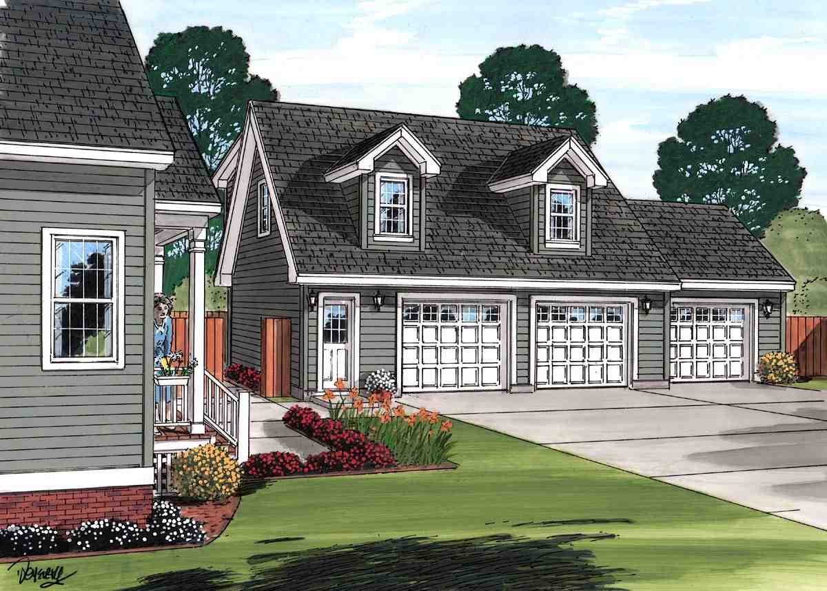 Cape Cod, Saltbox, Traditional 3 Car Garage Apartment Plan 30033 Picture 1