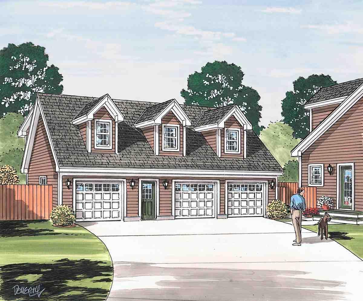 Cape Cod, Saltbox, Traditional 3 Car Garage Apartment Plan 30034 Picture 1