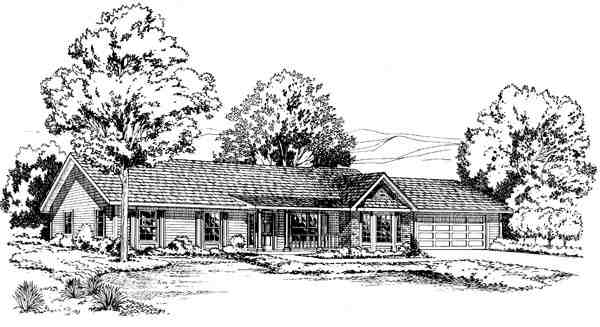 One-Story, Ranch, Traditional House Plan 34976 with 3 Beds, 2 Baths, 2 Car Garage Elevation