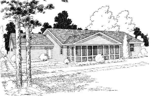 One-Story, Ranch, Traditional House Plan 34976 with 3 Beds, 2 Baths, 2 Car Garage Rear Elevation