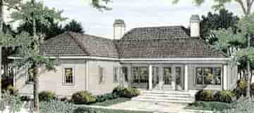 Colonial, European House Plan 40023 with 4 Beds, 3 Baths, 2 Car Garage Rear Elevation