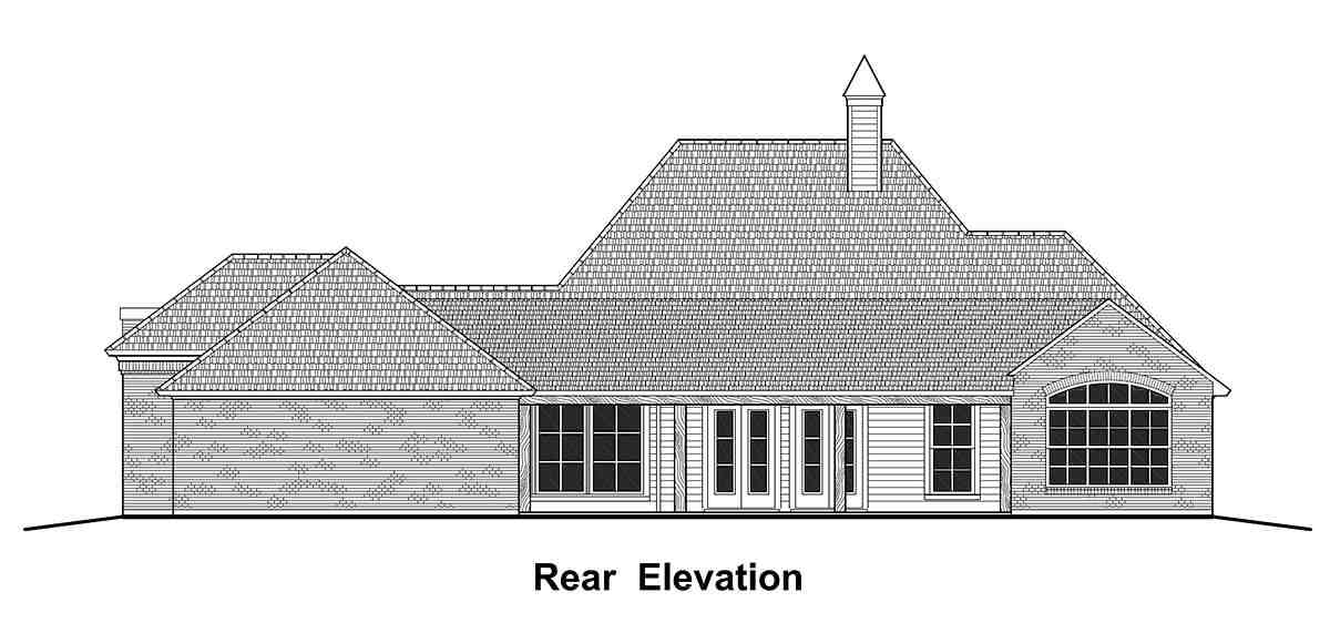 Colonial, Country, French Country, Southern House Plan 40344 with 4 Beds, 3 Baths, 2 Car Garage Rear Elevation