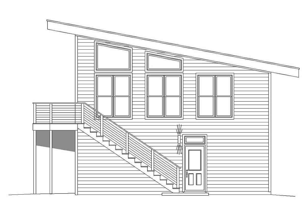 Contemporary, Modern Garage-Living Plan 40823 with 1 Beds, 1 Baths, 2 Car Garage Picture 1