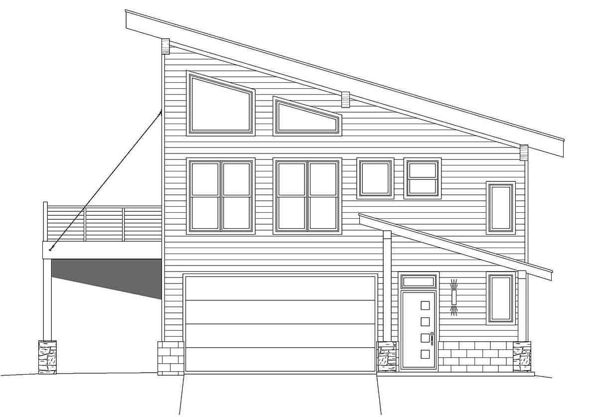 Contemporary, Modern 2 Car Garage Apartment Plan 40837 with 2 Beds, 2 Baths Picture 1