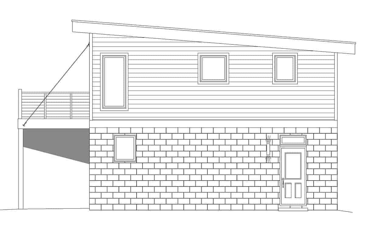 Coastal, Contemporary, Modern Garage-Living Plan 40862 with 1 Beds, 1 Baths, 2 Car Garage Picture 1