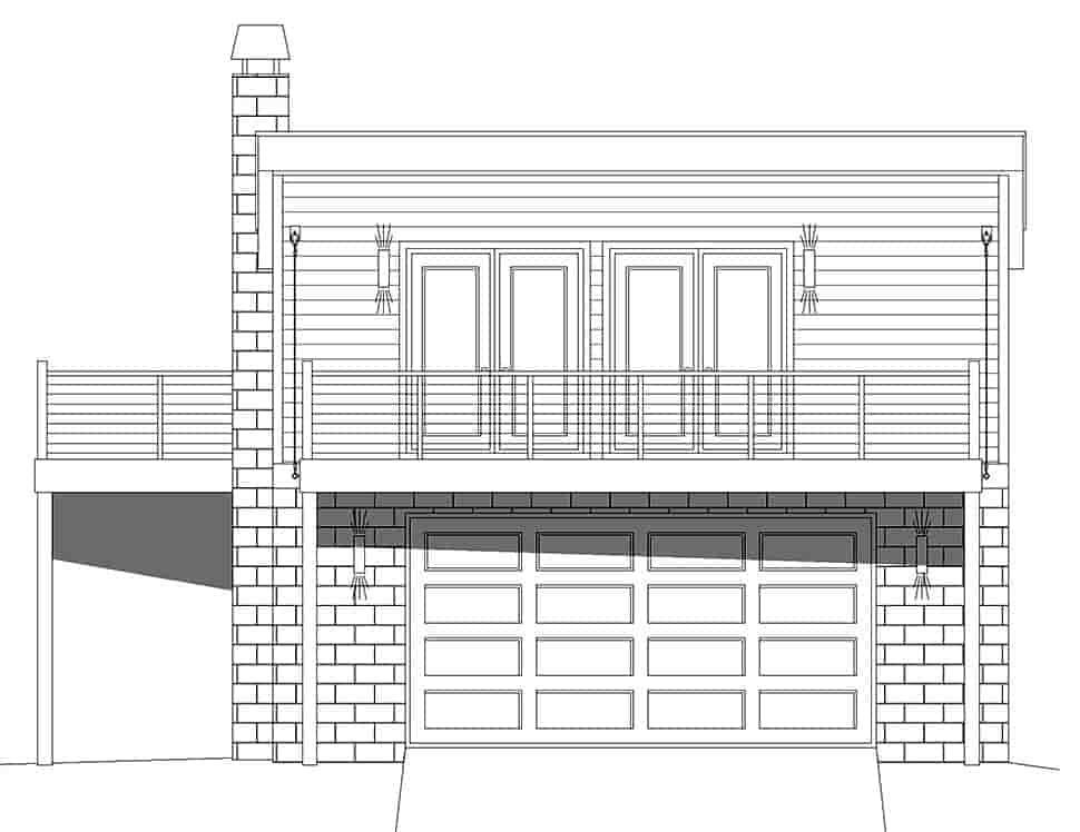 Coastal, Contemporary, Modern Garage-Living Plan 40862 with 1 Beds, 1 Baths, 2 Car Garage Picture 3