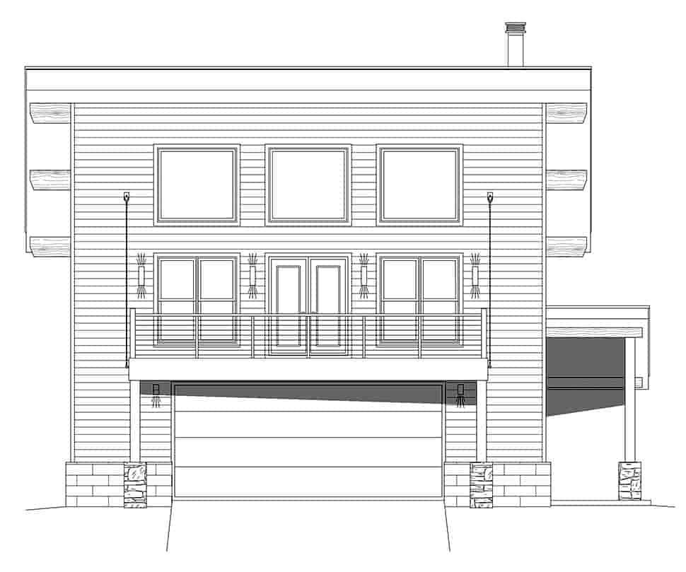 Coastal, Contemporary, Modern Garage-Living Plan 40863 with 2 Beds, 2 Baths, 2 Car Garage Picture 3