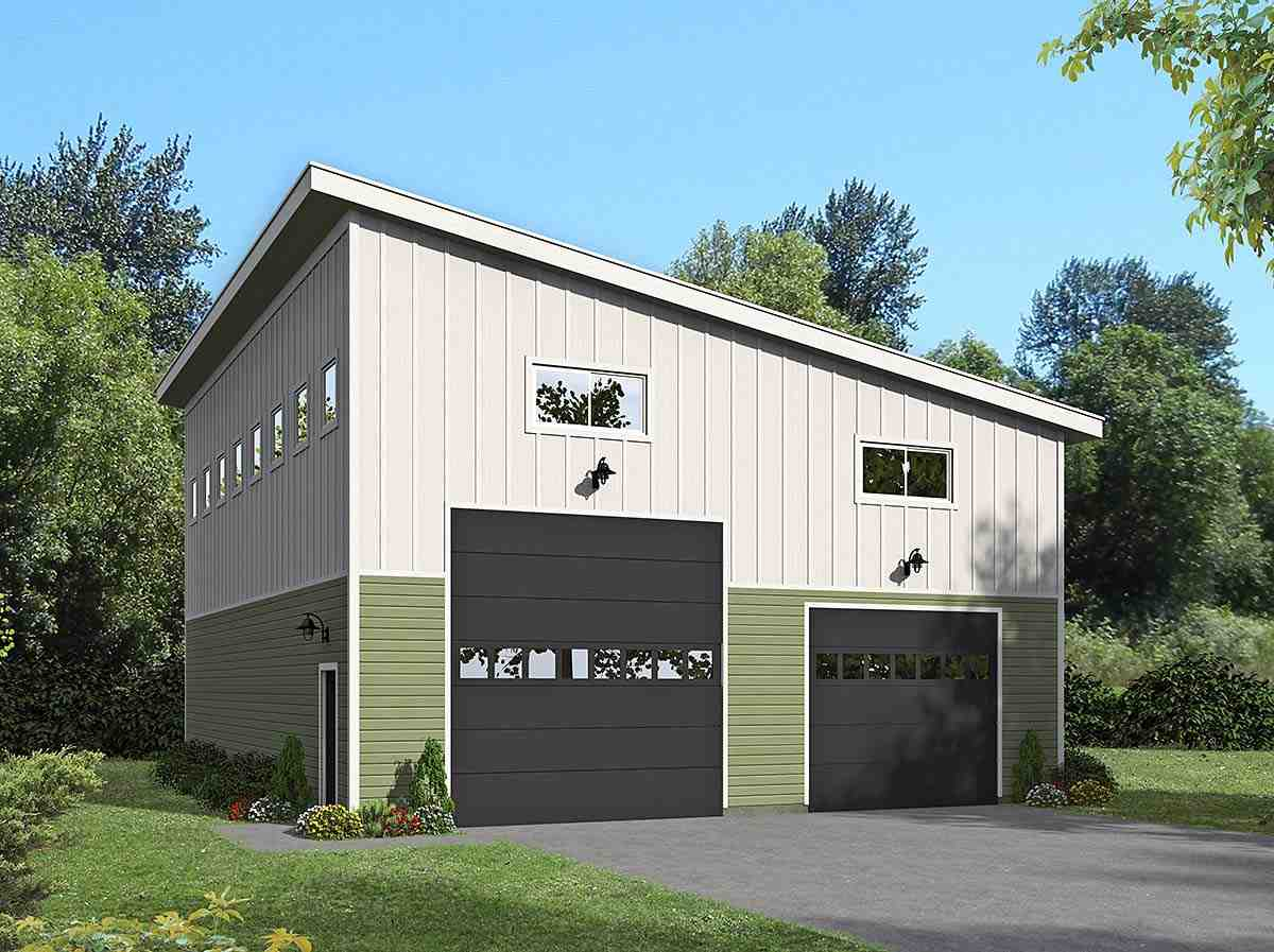 Contemporary, Modern 2 Car Garage Plan 40874 Elevation