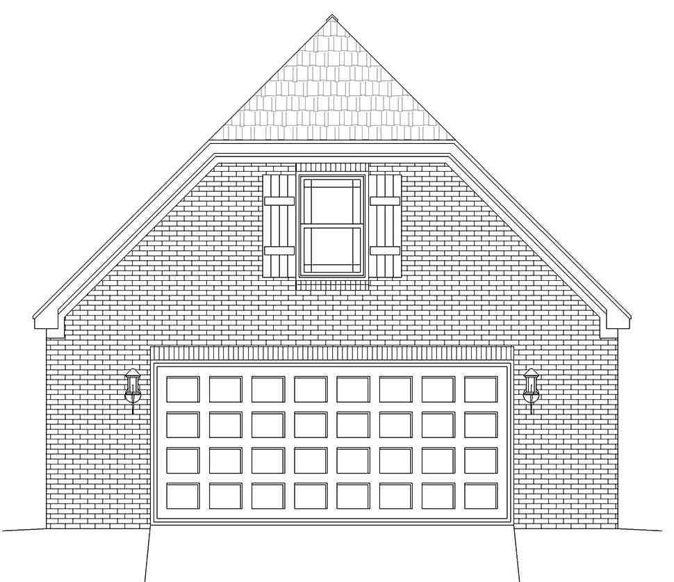 Country, French Country, Traditional 2 Car Garage Plan 40886 Picture 3